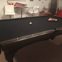 Pewter Finish Black Felt Pool Table